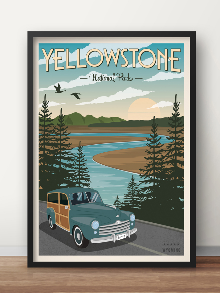 yellowstone vintage travel poster usa national park print