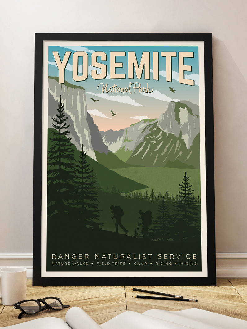 yosemite vintage travel poster usa national park wall art