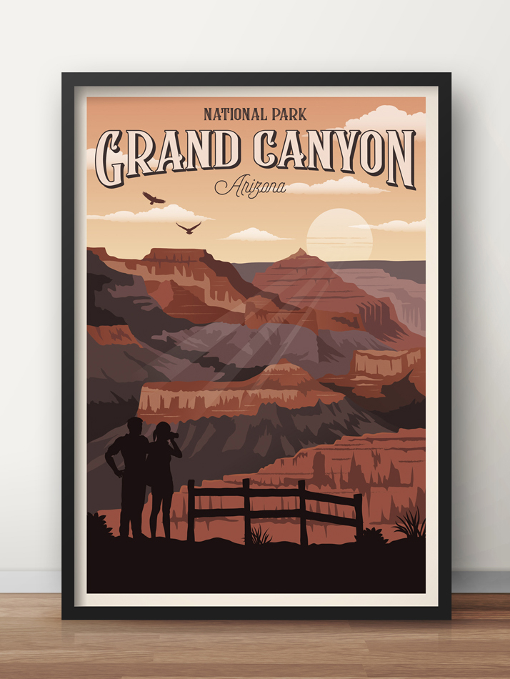 grand canyon travel poster arizona vintage print