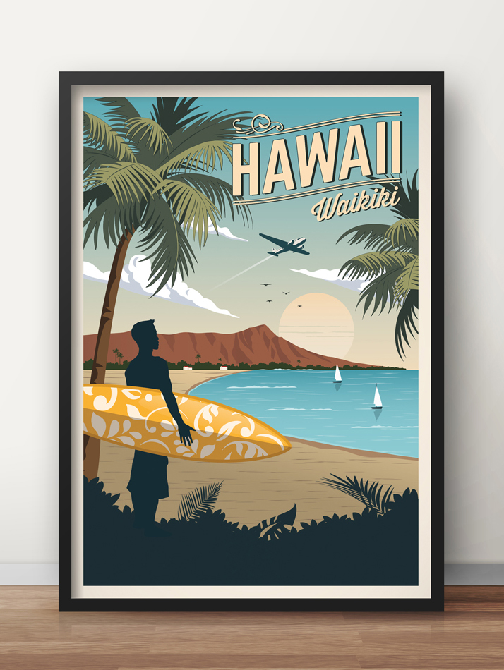 hawaii travel poster waikiki vintage print