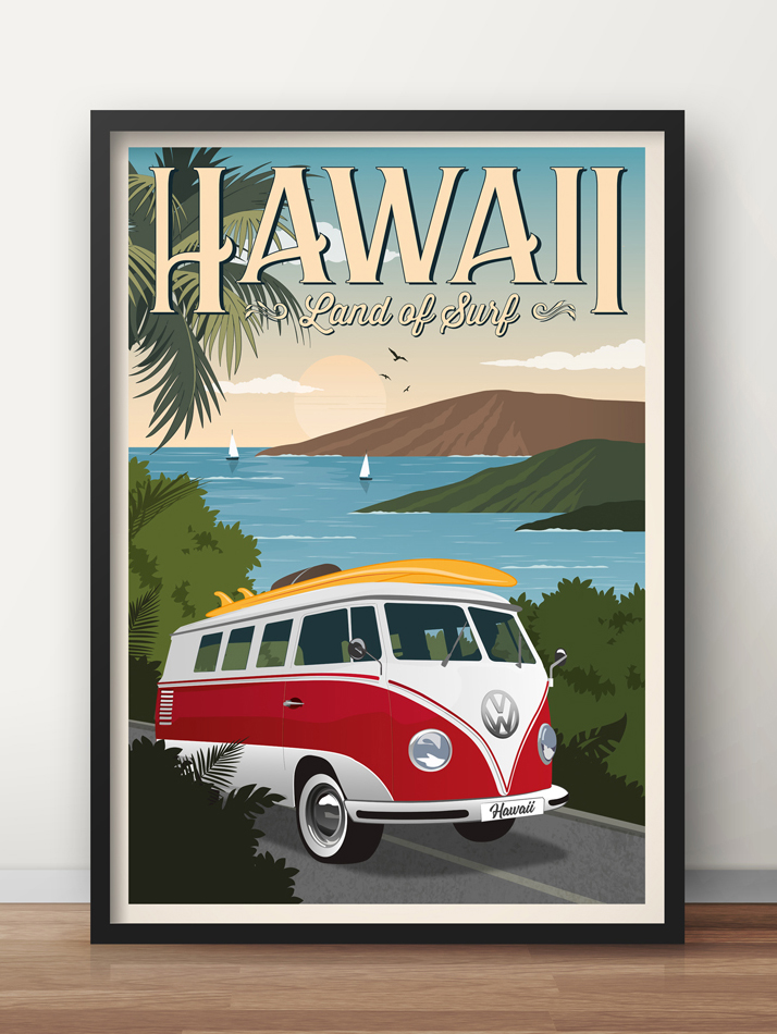 hawaii travel poster vw van vintage surf print