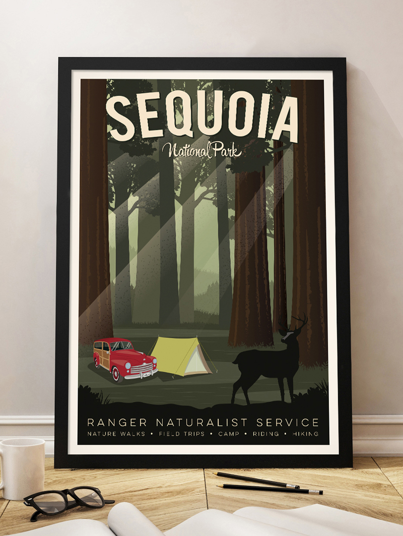 sequoia travel poster sequoia national park vintage print