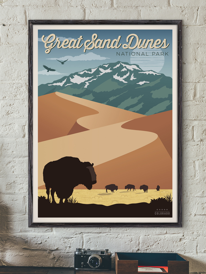 great sand dunes travel poster national park vintage print