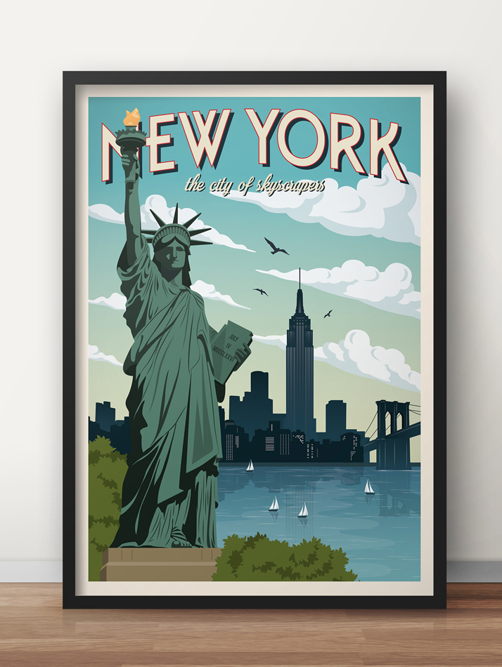 new york travel poster manhattan vintage print
