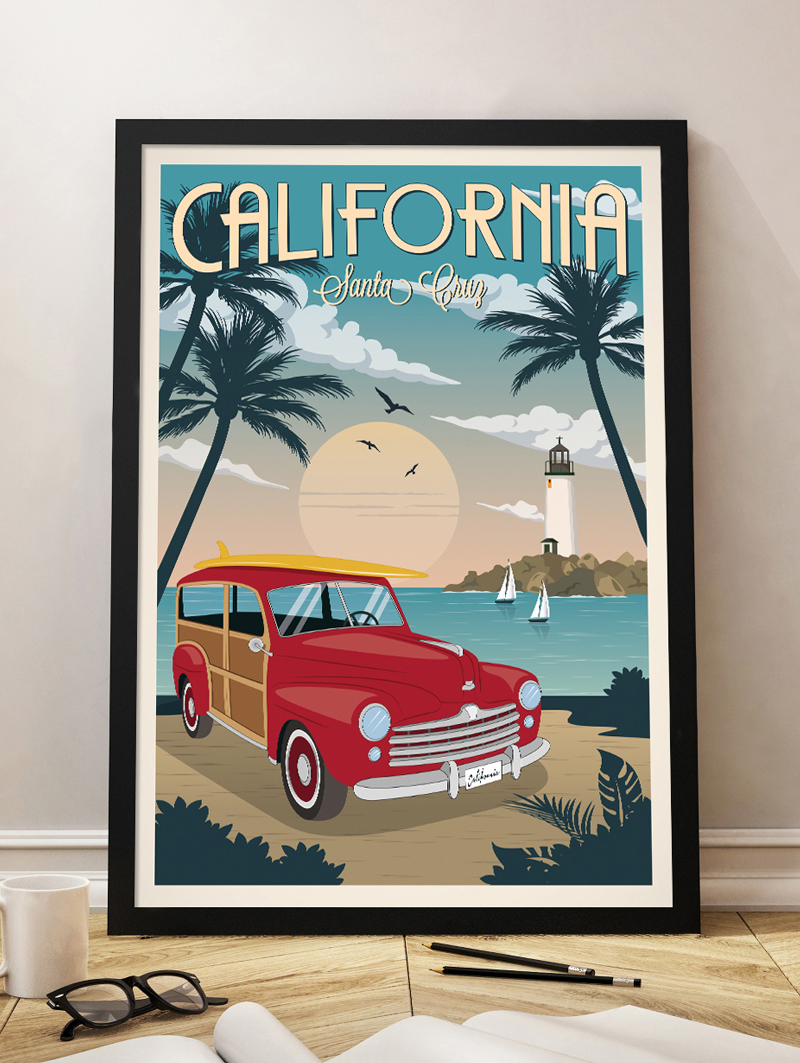 california travel poster santa cruz vintage print