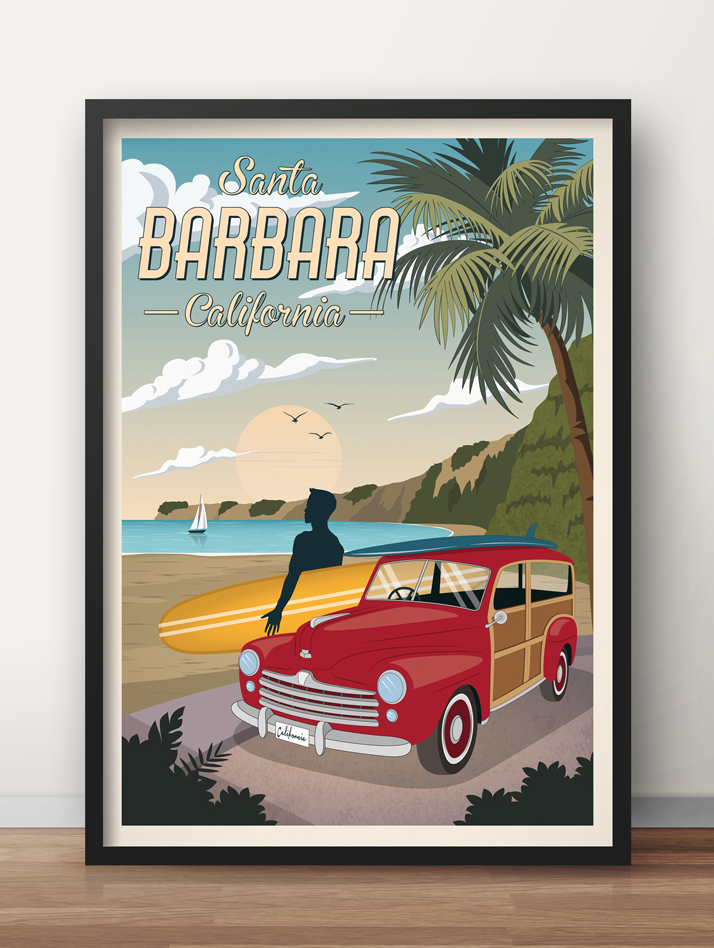 california travel poster santa barbara woody car print