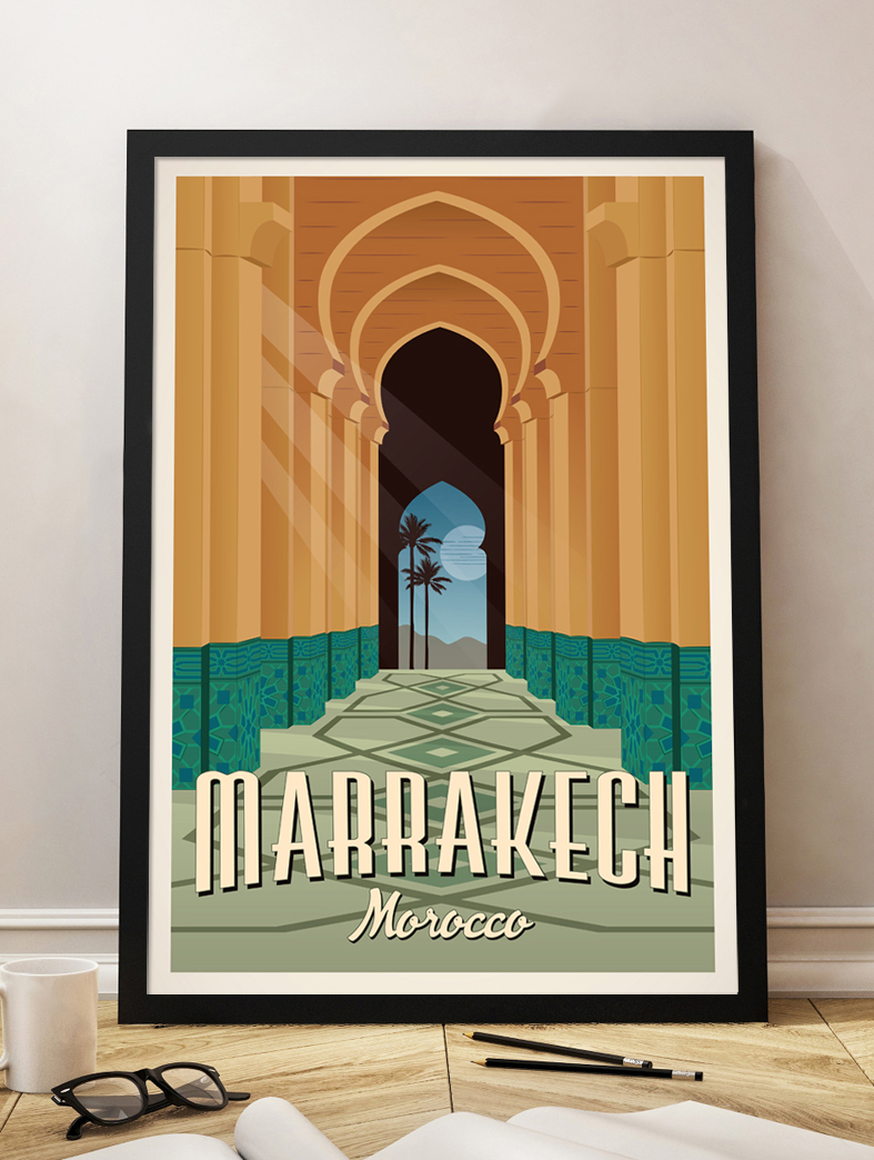 marrakech vintage travel poster morocco art print