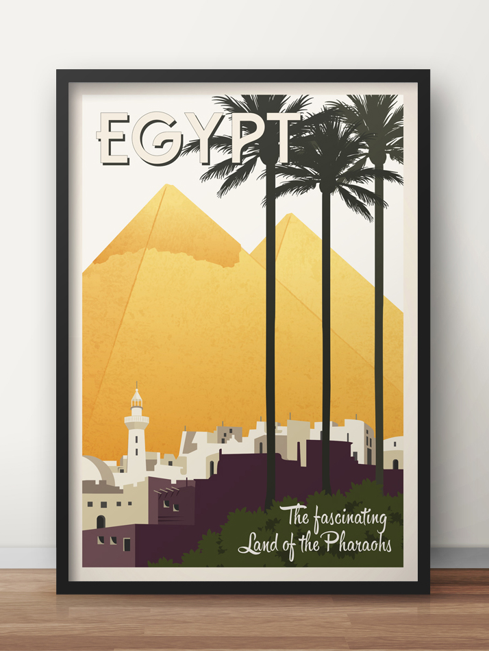 egypt vintage travel poster pyramids wall art