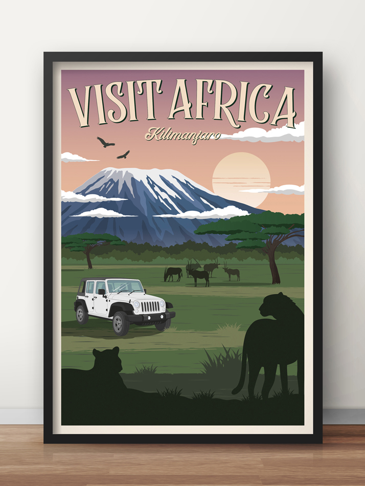 africa vintage travel poster safari kilimanjaro wall art