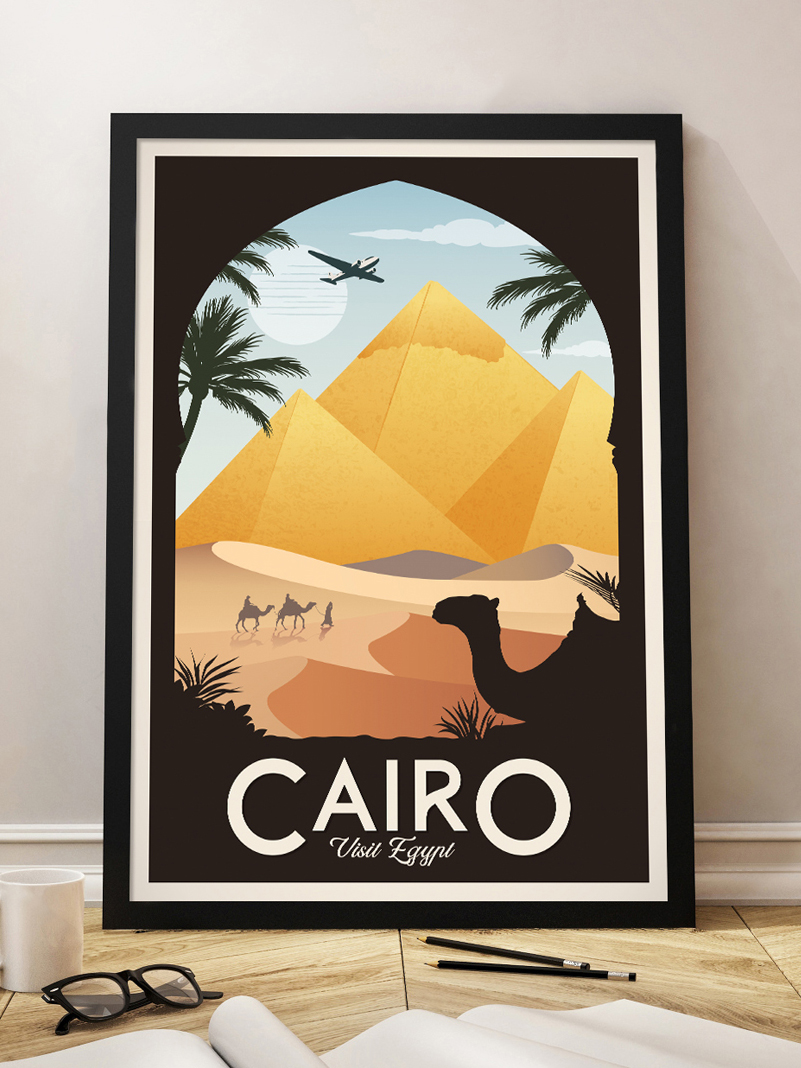 egypt vintage travel poster pyramids cairo wall art