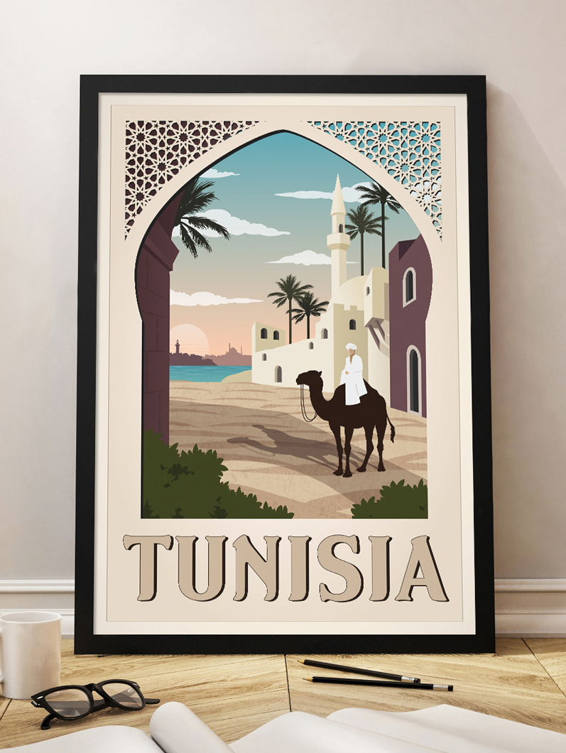 tunisia vintage travel poster wall art print product