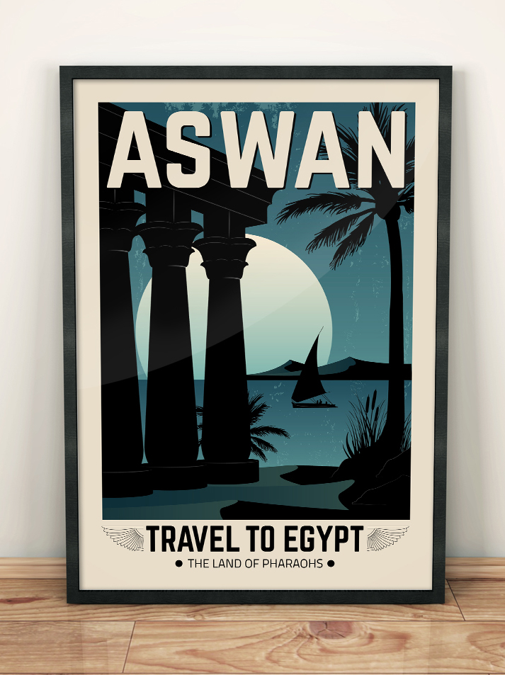 egypt vintage travel poster aswan wall art print