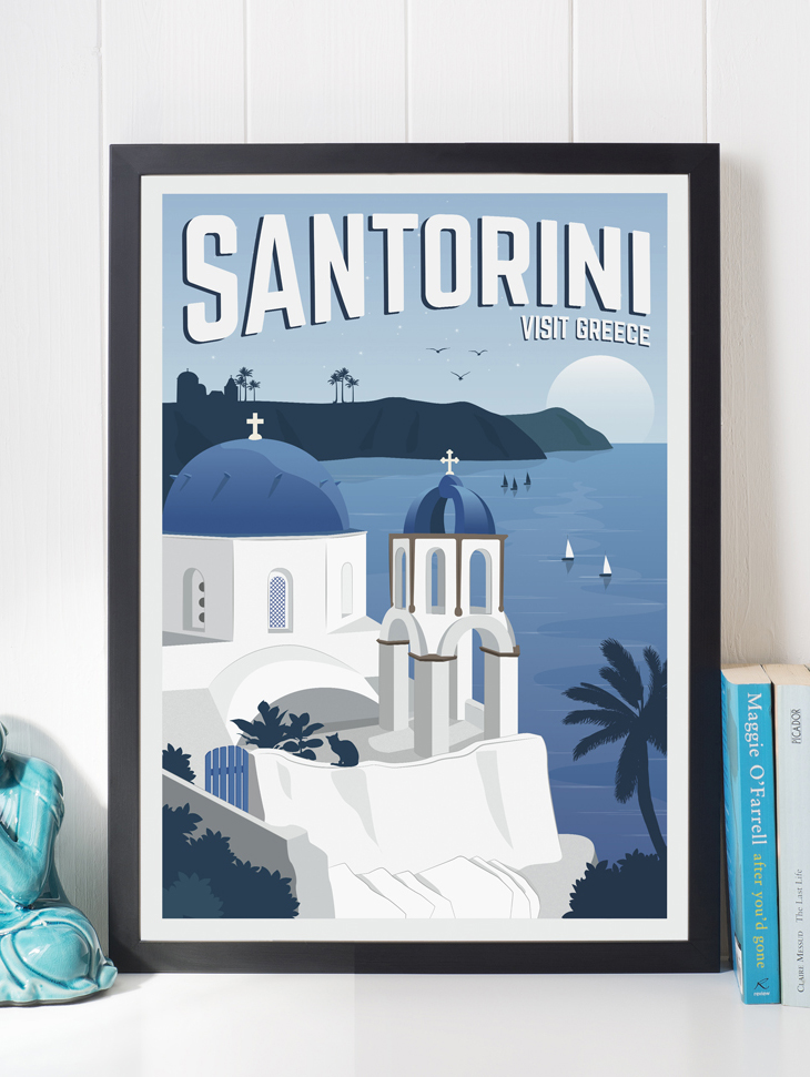 santorini vintage travel poster greece art print