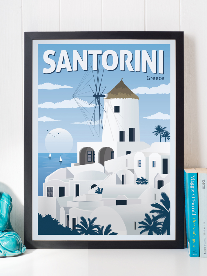 santorini vintage travel poster greece wall art