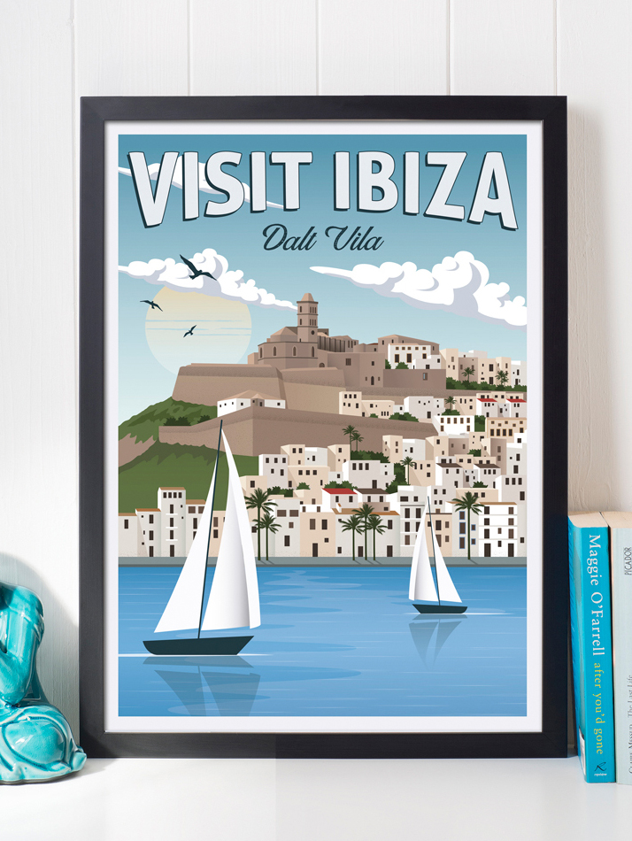 ibiza vintage travel poster balearic islands art print