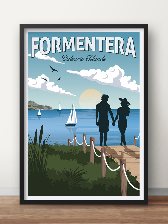 formantera vintage travel poster balearic islands art print