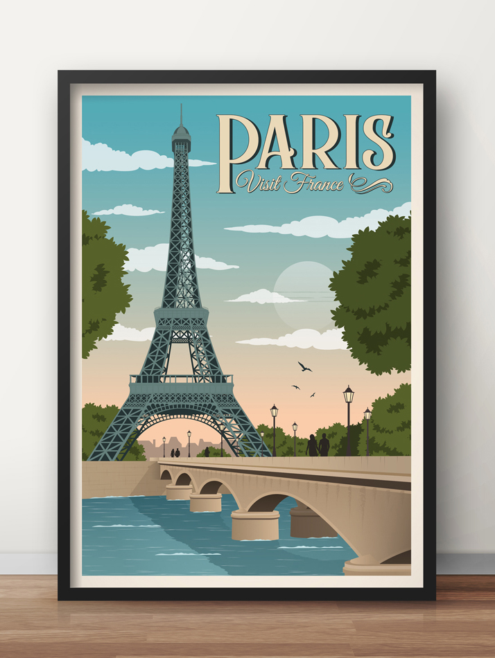 paris vintage travel poster eiffel tower art print