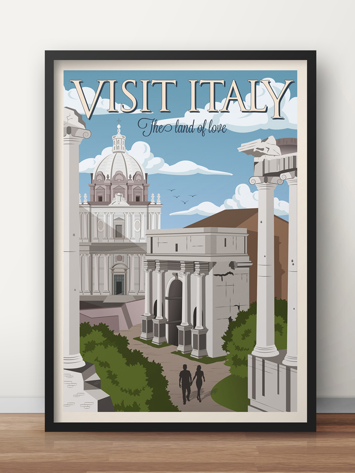 rome vintage travel poster italy wall art
