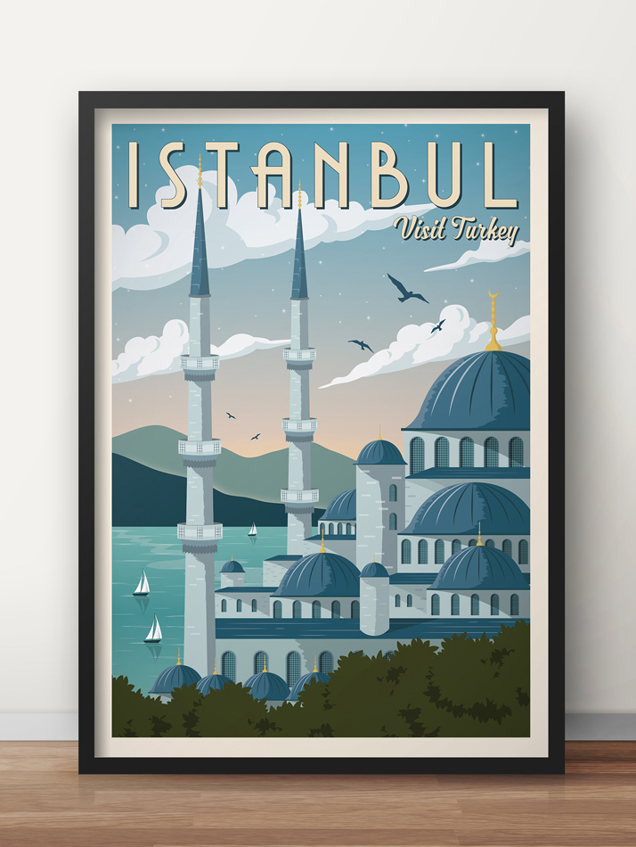 istanbul vintage travel poster turkey art print