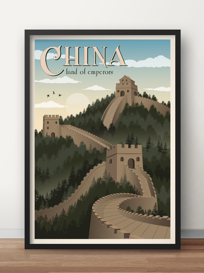 china vintage travel poster great wall art print