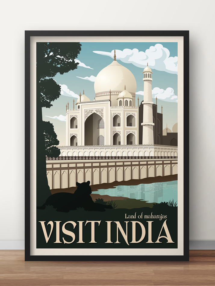 india vintage travel poster taj mahal wall art