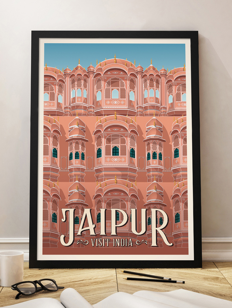 jaipur vintage travel poster india wall art print