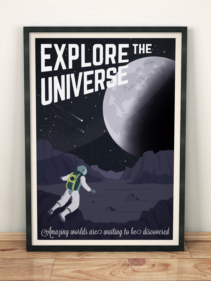 universe vintage travel poster space nasa wall art