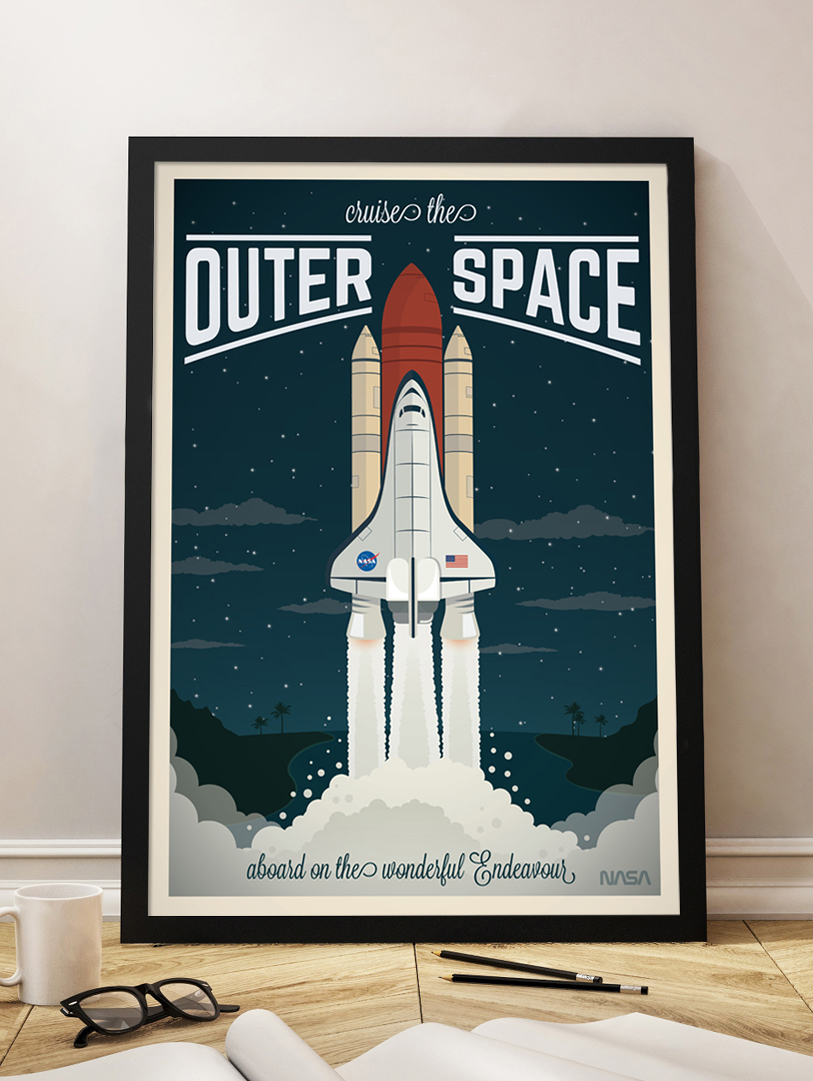 spaceship vintage travel poster nasa endeavour wall art