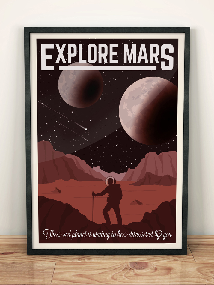 mars vintage travel poster space art print