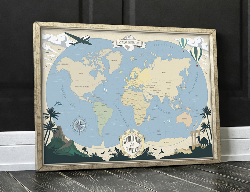 worldmap vintage travel poster retro art print