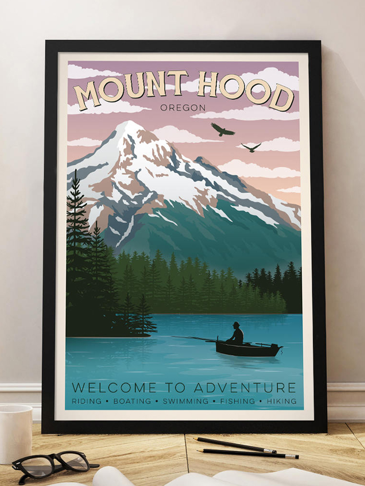 mount hood oregon travel poster