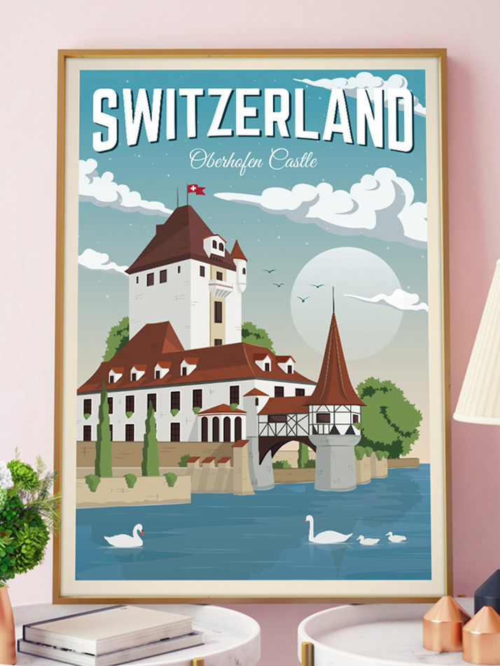 switzerland vintage travel poster oberhofen castle art print