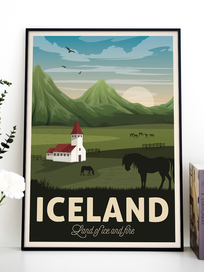 iceland vintage travel poster land ice and fire