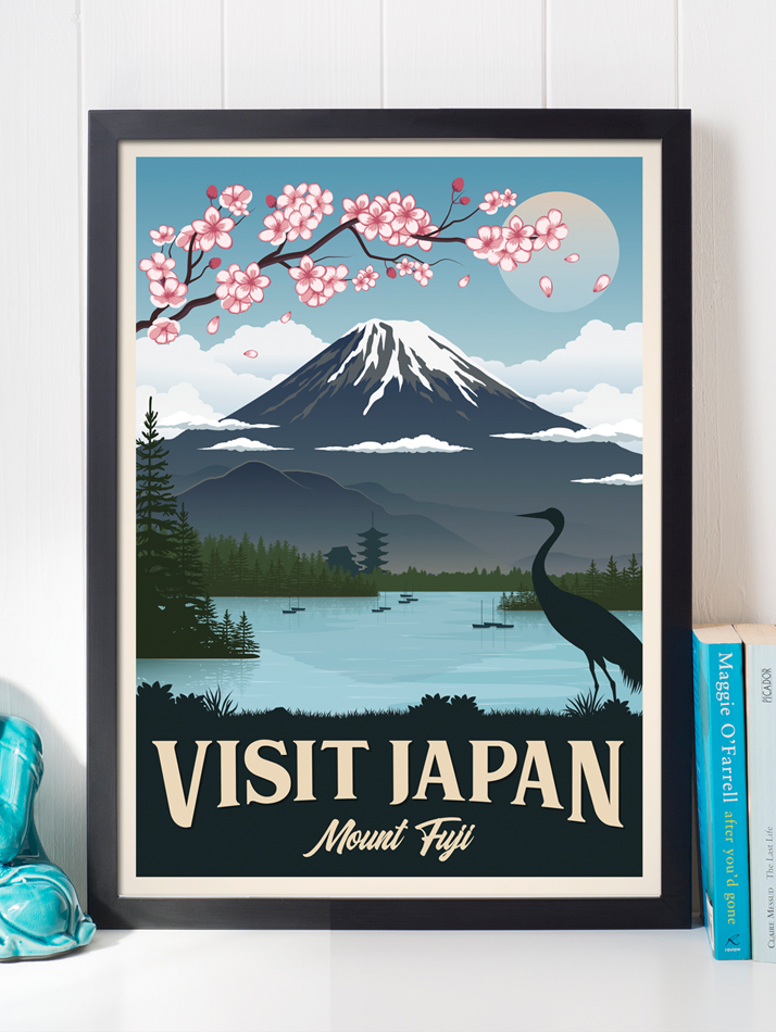 japan mount fuji vintage travel poster