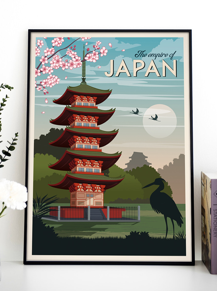 japan kyoto vintage travel poster