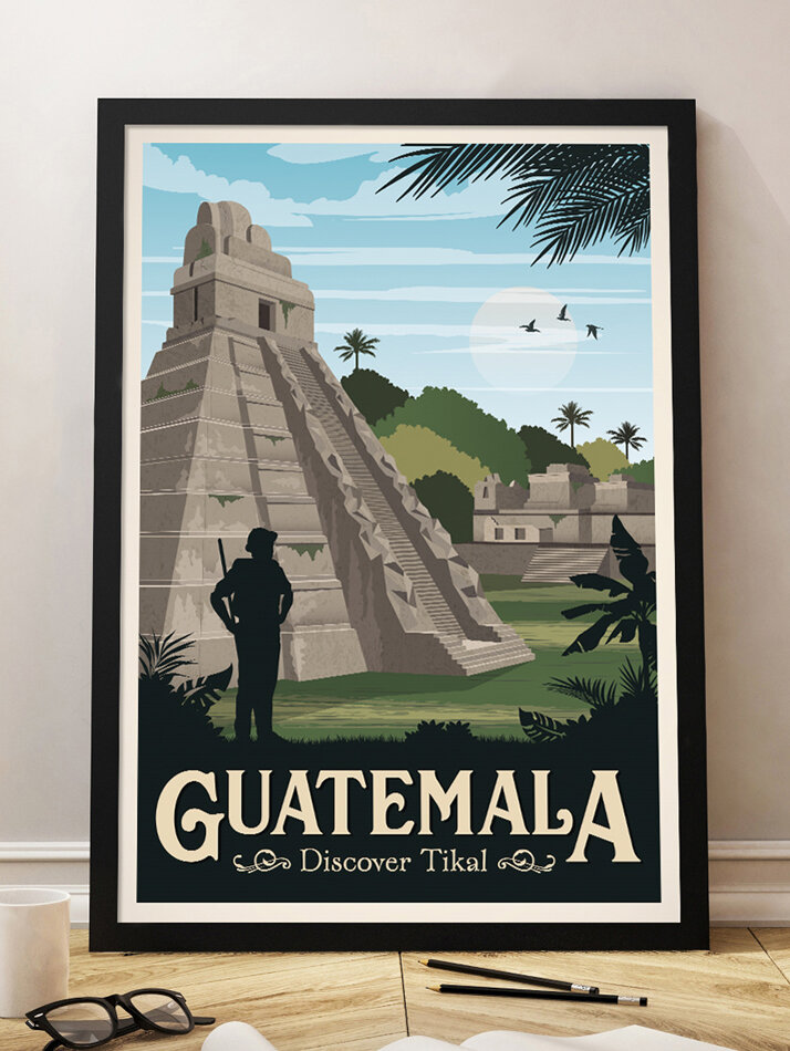 guatemala travel poster