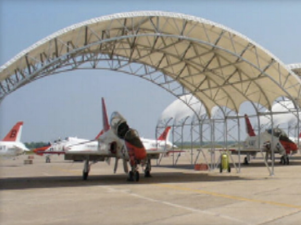 The Naval Air Stations at Kingsville, TX and Meridian, Ms each ordered 16 aircraft hangars to protect their T-45 Goshawk trainers. The hangars will lower the cockpit temperatures by 80 degrees in the summer, and are built to withstand winds of 130 mph.