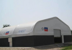 Haiti Central Post Office  60'W x 100'L x 23'H. Hybrid building provides immediate, secure facility for disaster recovery