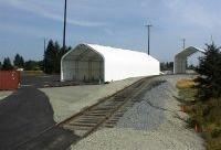 McMillan Piper, Seattle WA. 2 shelters Gable Style 44ft W x 120ft L x 33ft H with 20 side wall. 44ft W x 60ft L x 36ft H with 24 side wall. Equipment storage.