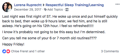 Respectful sleep training group