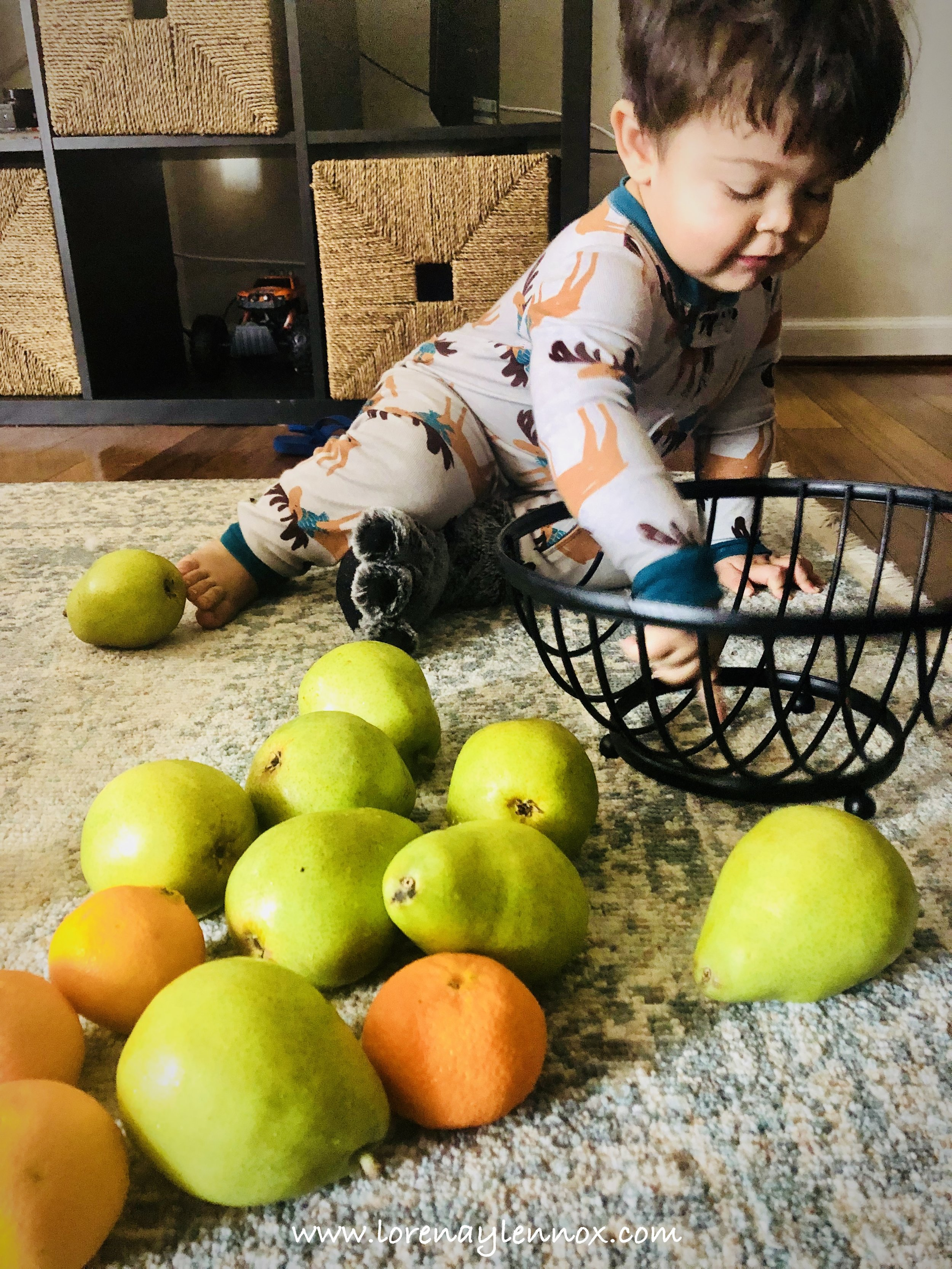 When Lennox teethes, we keep a basket full of non-ripe fruit for him.