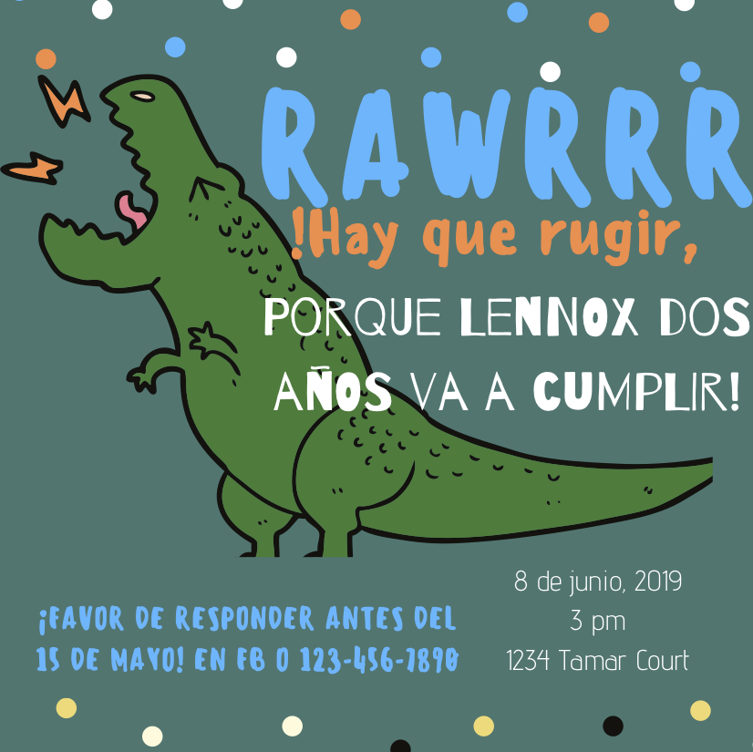 In English it would say Lennox, lets RAWRR for you, because you are turning two!!!