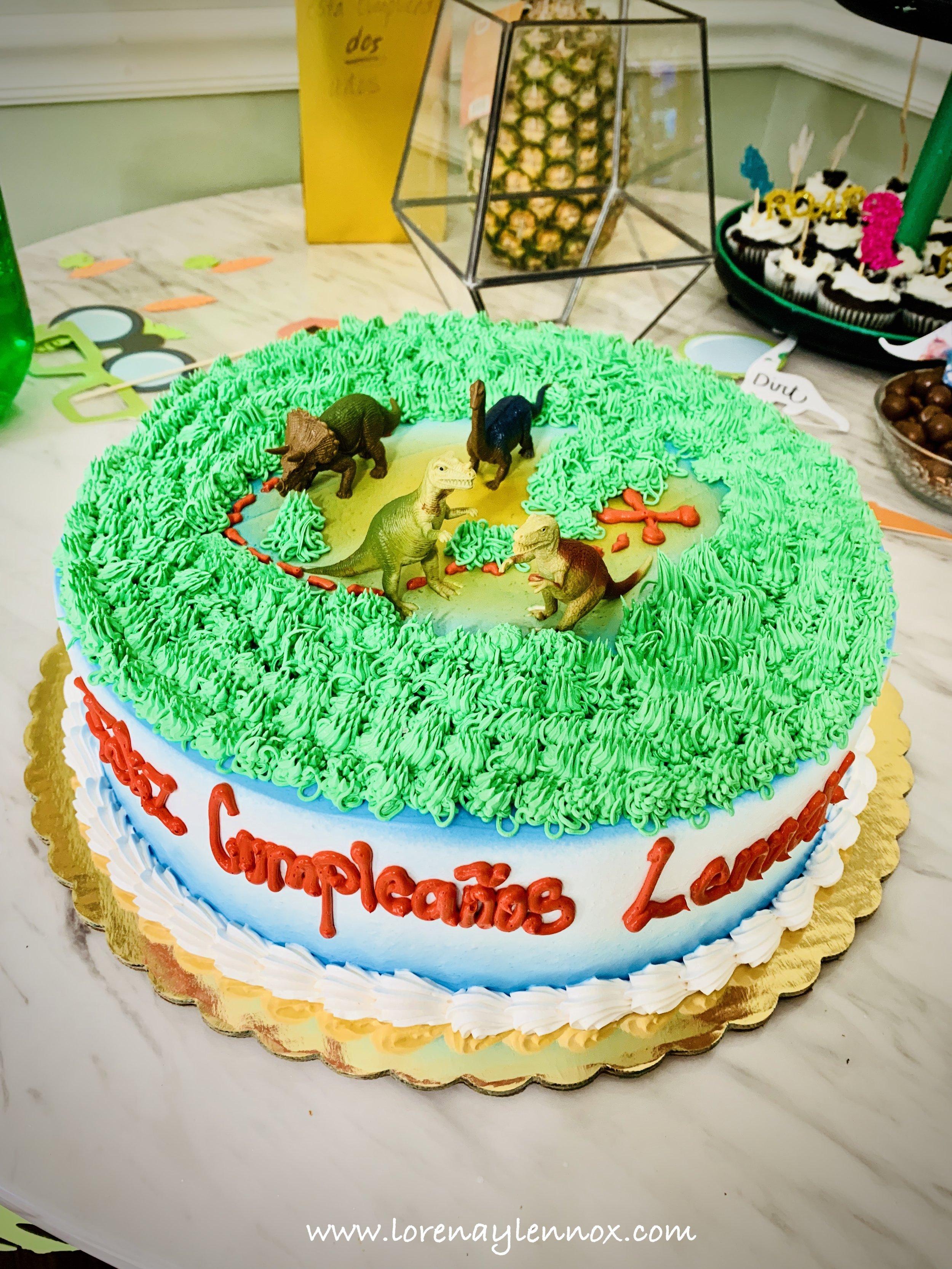Dinosaur tres leches cake