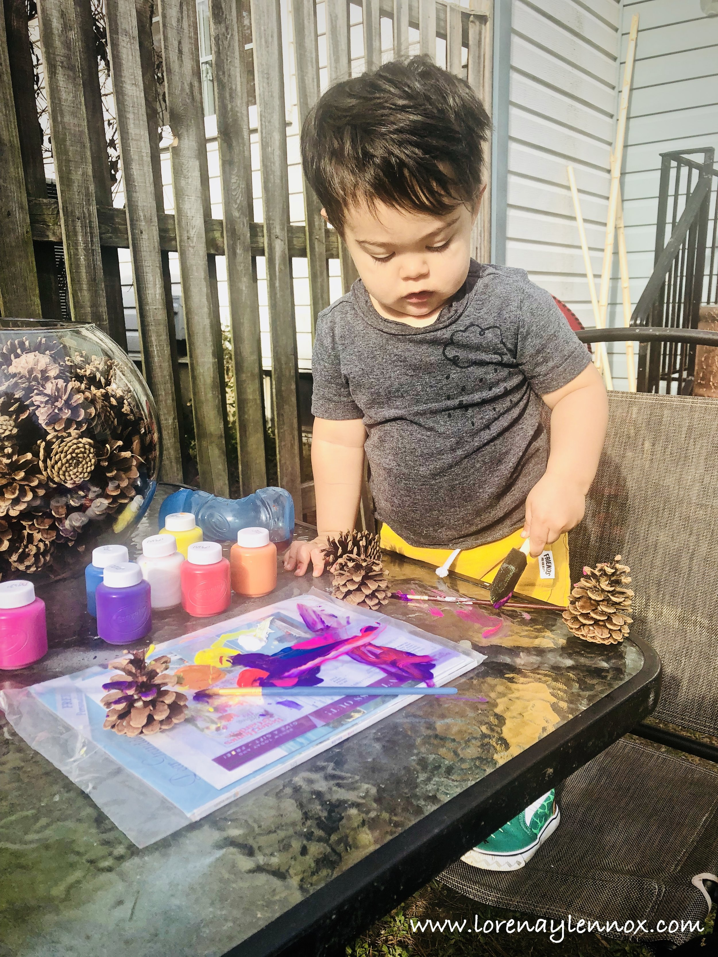 Painting Pinecones Toddler Fall Activity