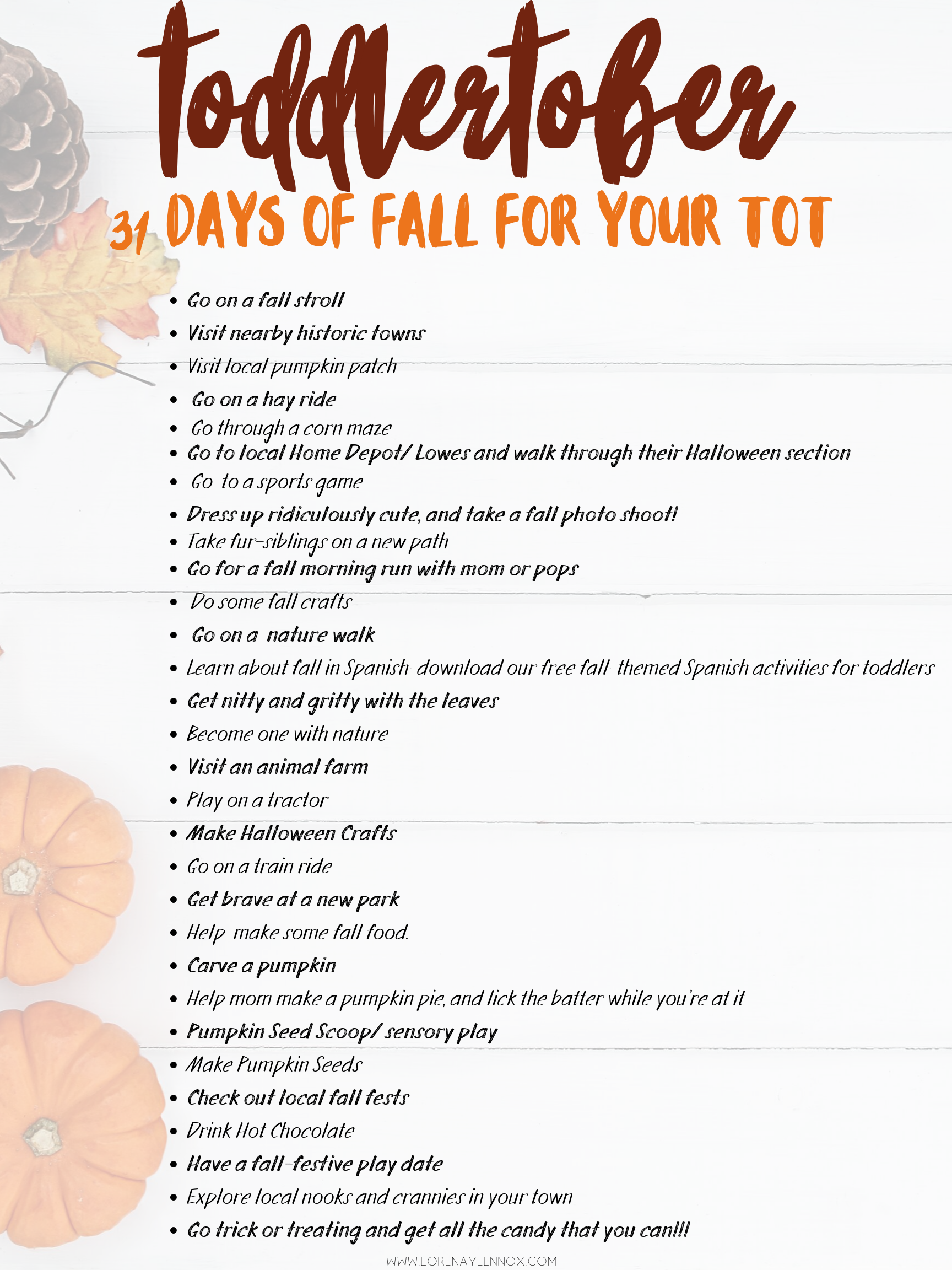Toddlertober- 31 days of fall for your tot.