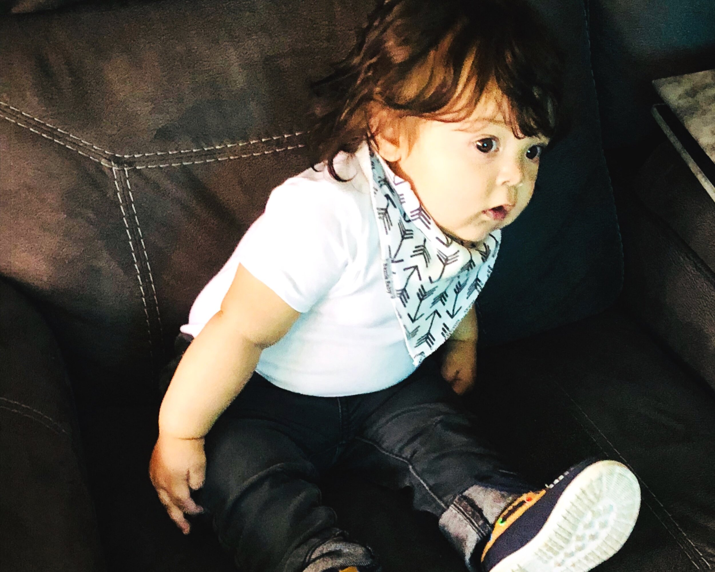 Lennox with bandana bib