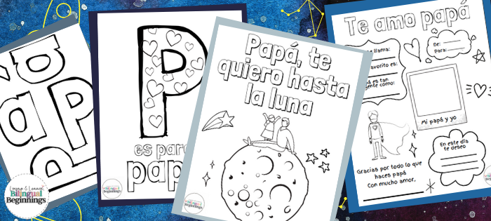 Four Free Father's Day printable PDF activities in Spanish for toddlers, preschoolers and kindergarteners   . These are the perfect activity to do in the classroom or at home!