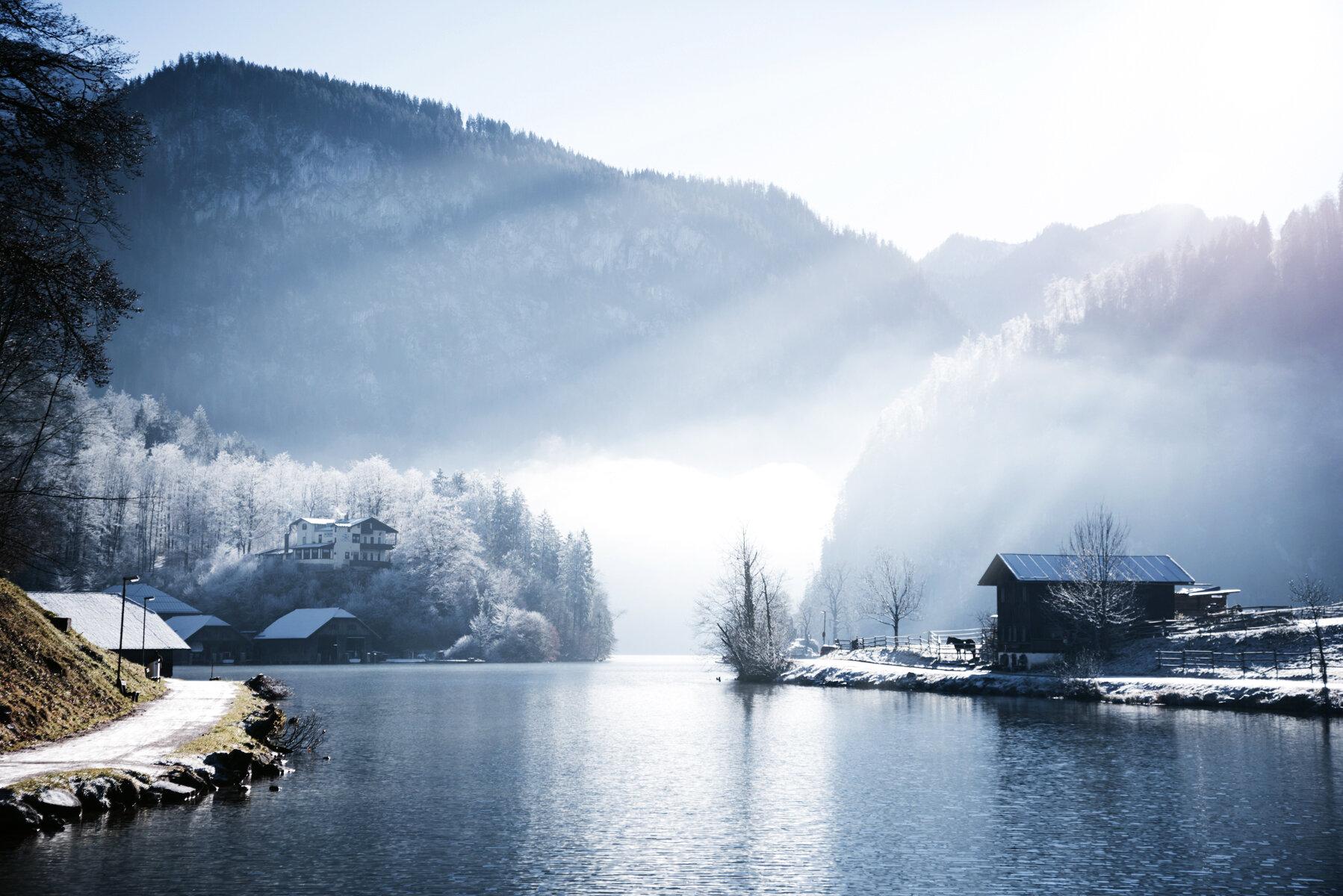 冬季國王湖雪景景色