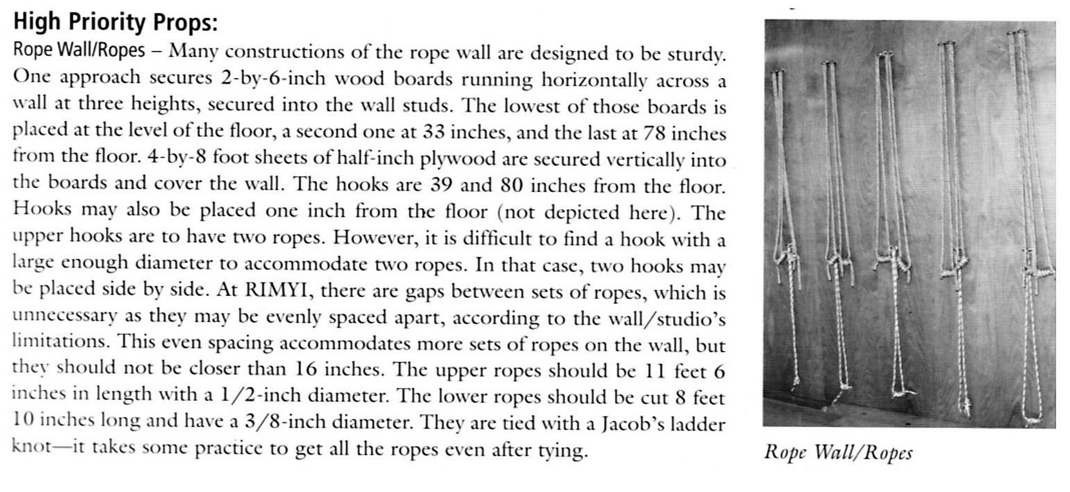 Lois Steinberg's measurements and instructions for building a rope wall