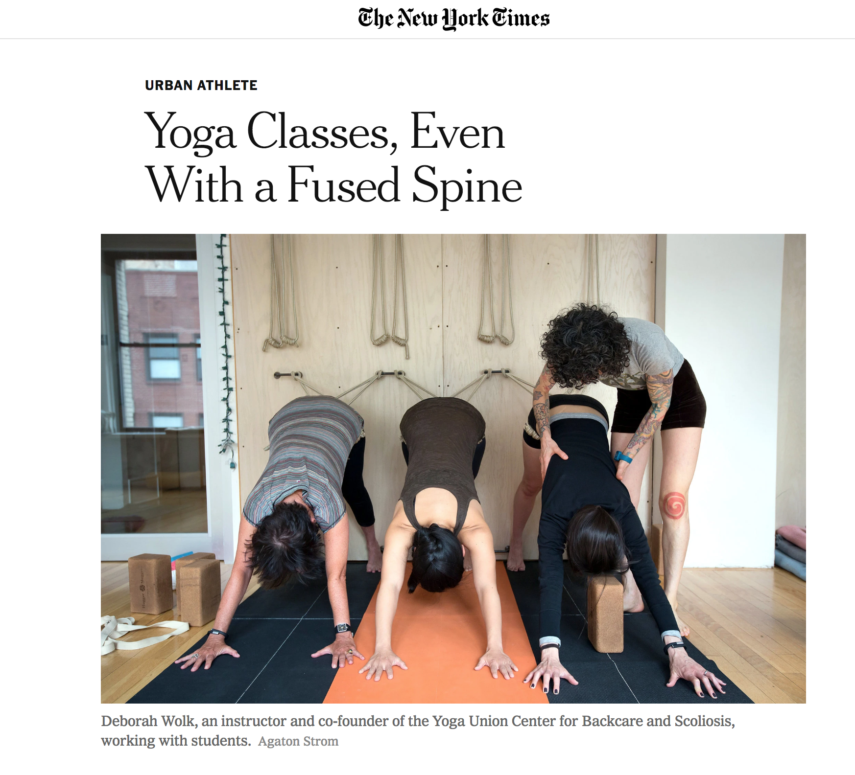 New York Times, Yoga Classes Even with a Fused Spine